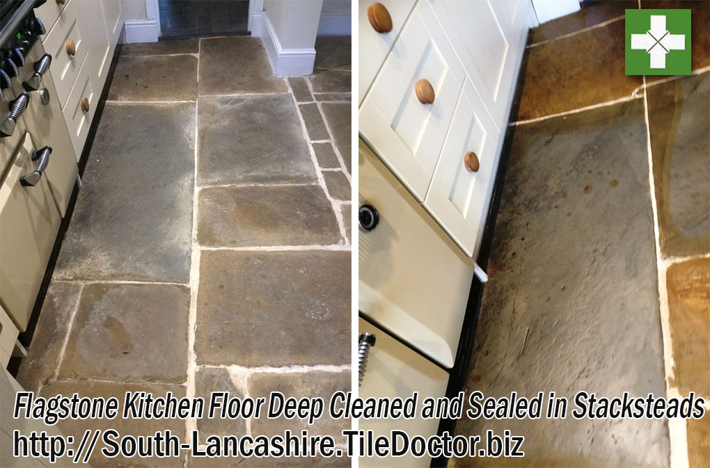 Flagstone Kitchen Floor Before and After Renovation in Stacksteads