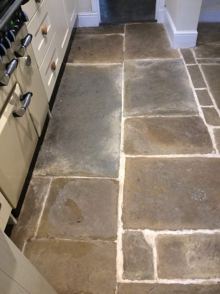 Old Flagstone Tiled Kitchen Floor Renovated at a Stacksteads ...