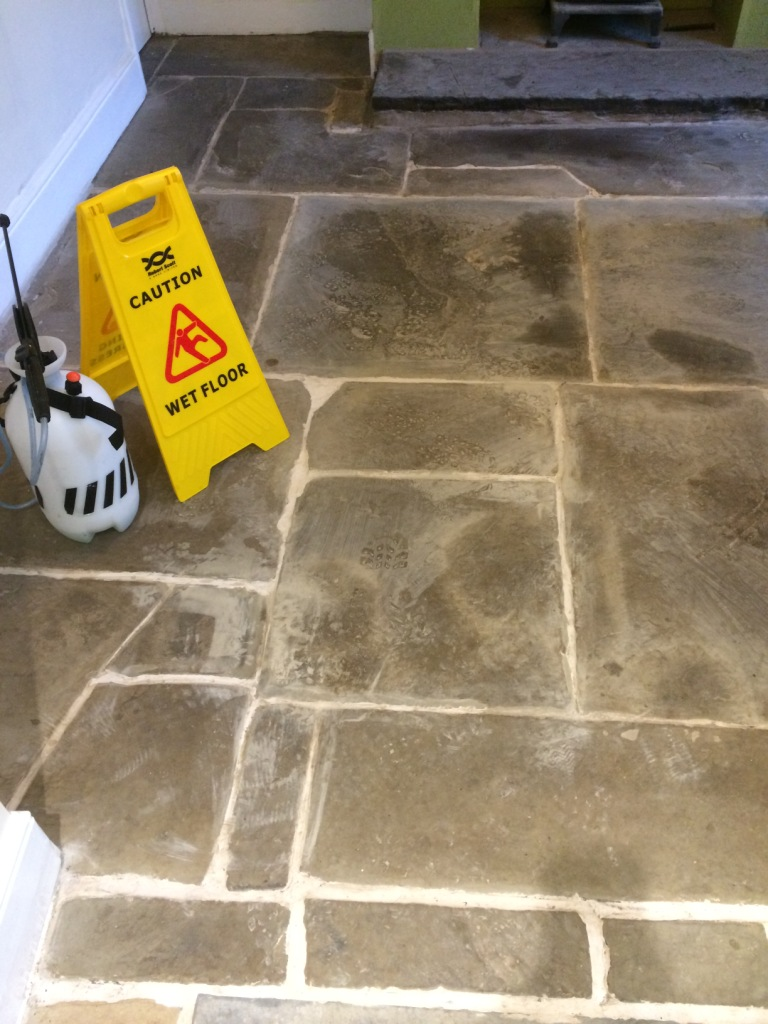 Old Flagstone Tiled Kitchen Floor Before Renovation in Stacksteads Backup