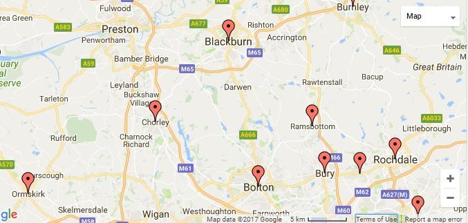 South Lancashire Area Map courtesy of Google.