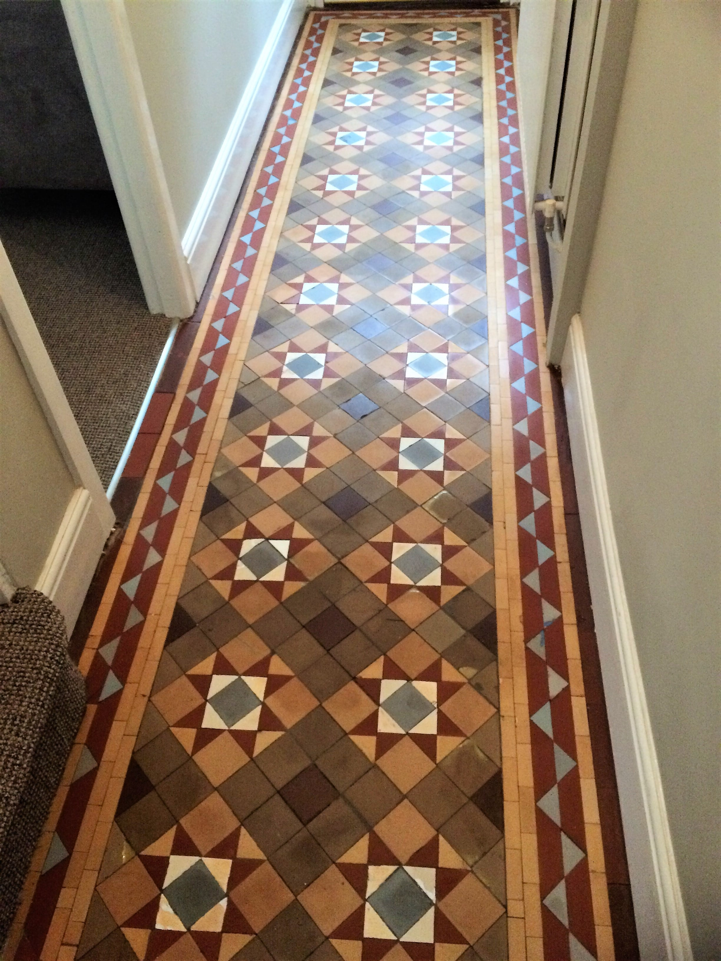Cleaning and maintenance advice for victorian tiled floors victorian tiled hallway restoration in surrey doublecrazyfo Gallery