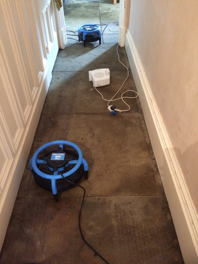Flagstone Hallway Floor After Cleaning Drying Out Haslingden