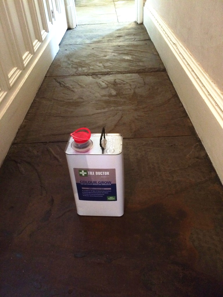 Flagstone Hallway Floor After Cleaning and Sealing Haslingden