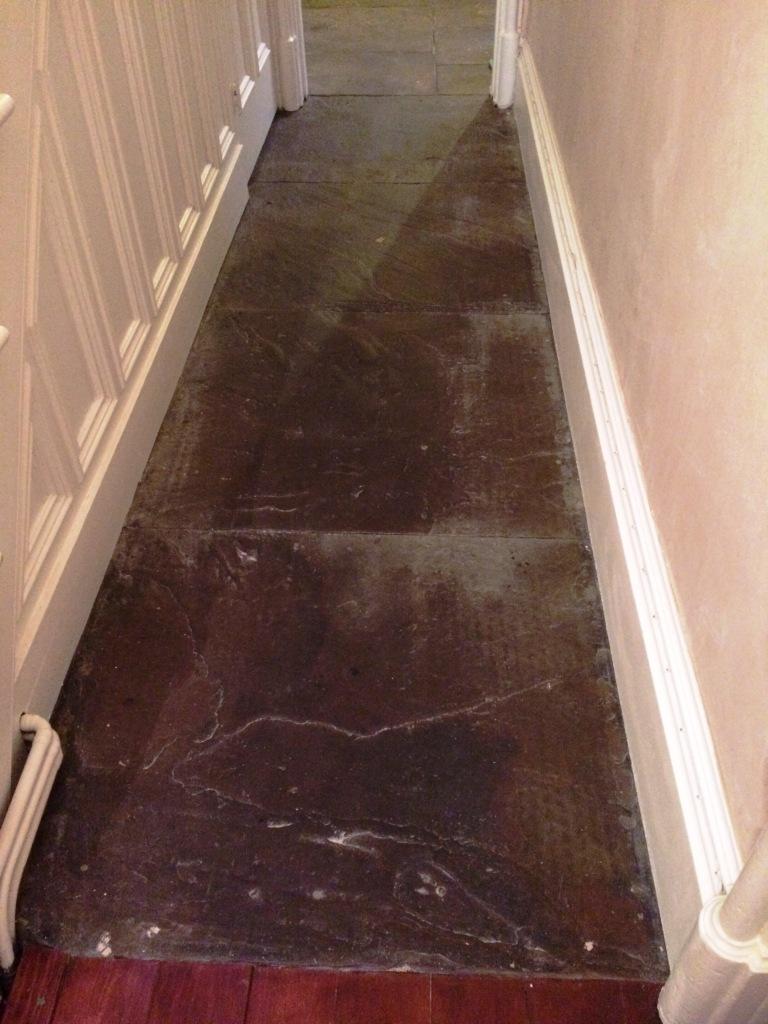 Flagstone Hallway Floor Before Cleaning Haslingden