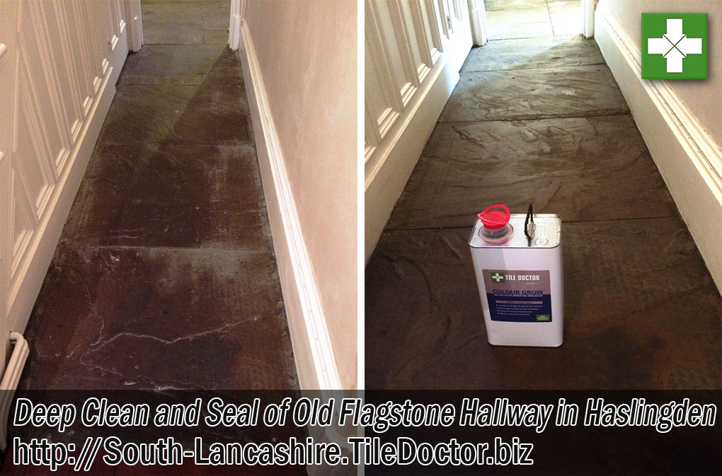 Flagstone Hallway Floor Before and After Renovation in Haslingden