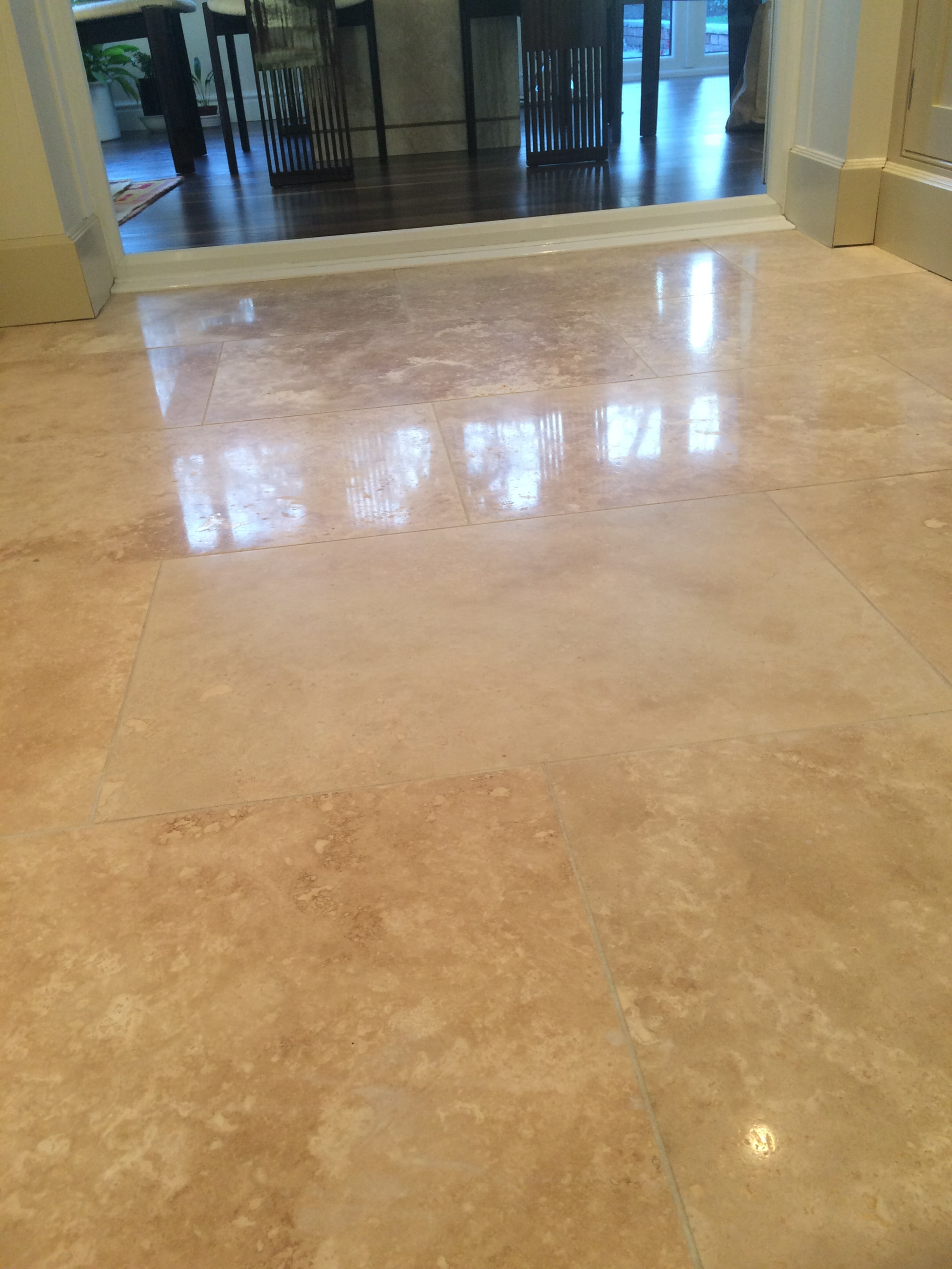 Travertine Tiled Floor After Polishing Blackburn