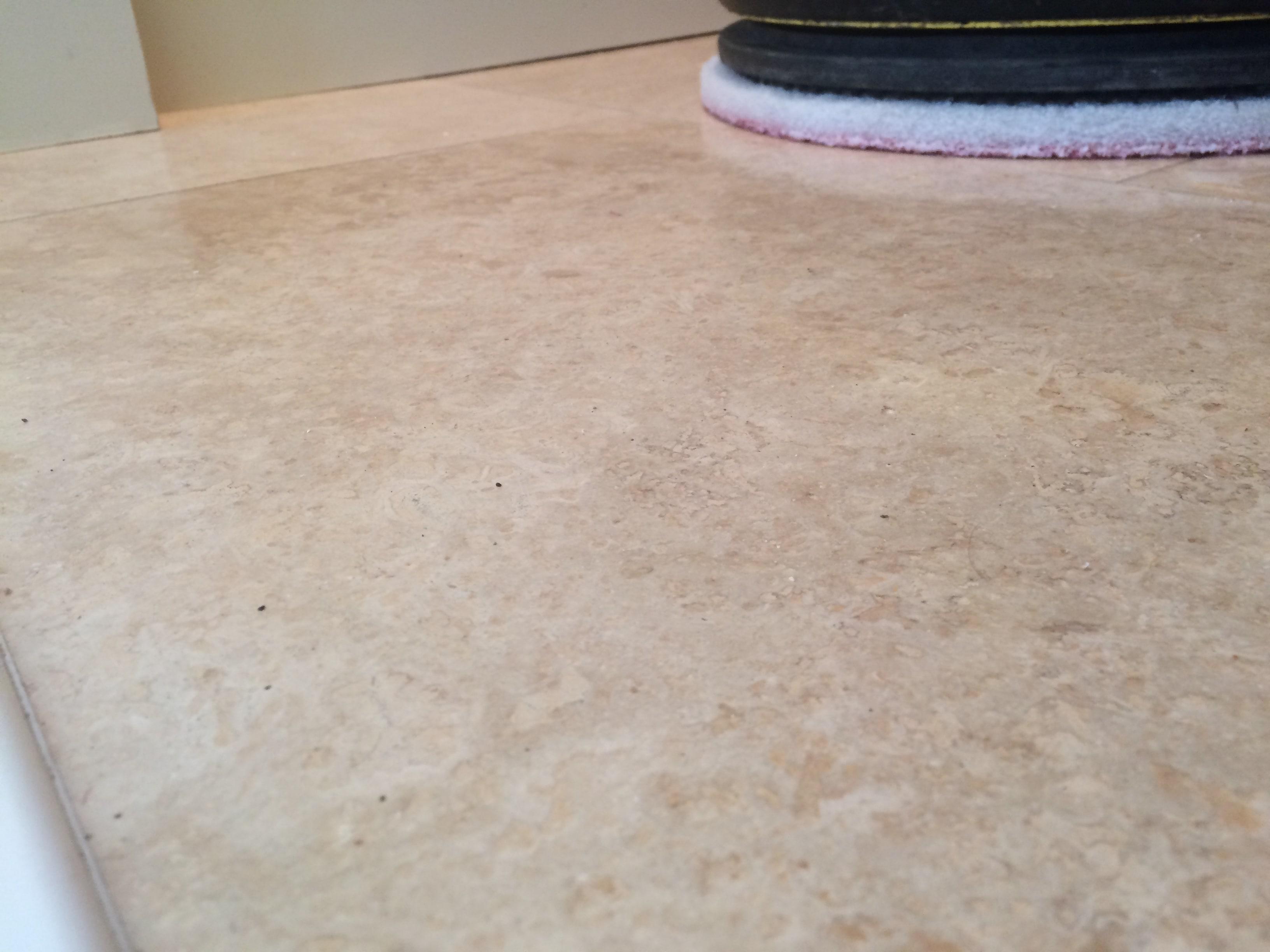 Travertine Tiled Floor Before Polishing Blackburn