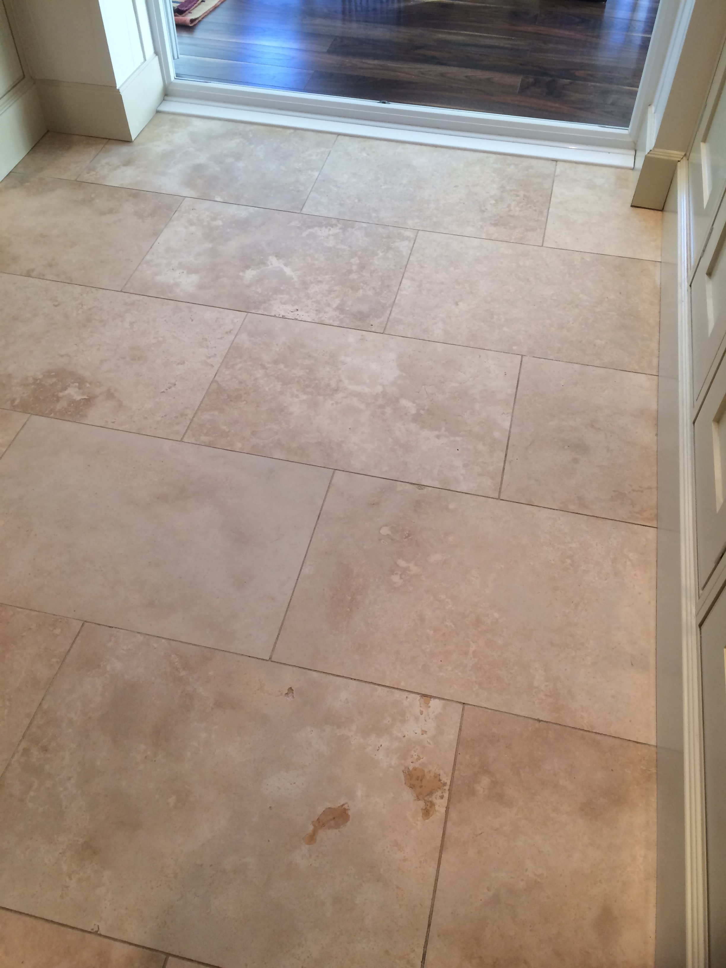 Travertine Tiled Floor Before Polishing Blackburn