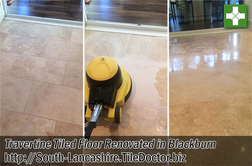 Travertine Tiled Floor Before and After Polishing in Blackburn