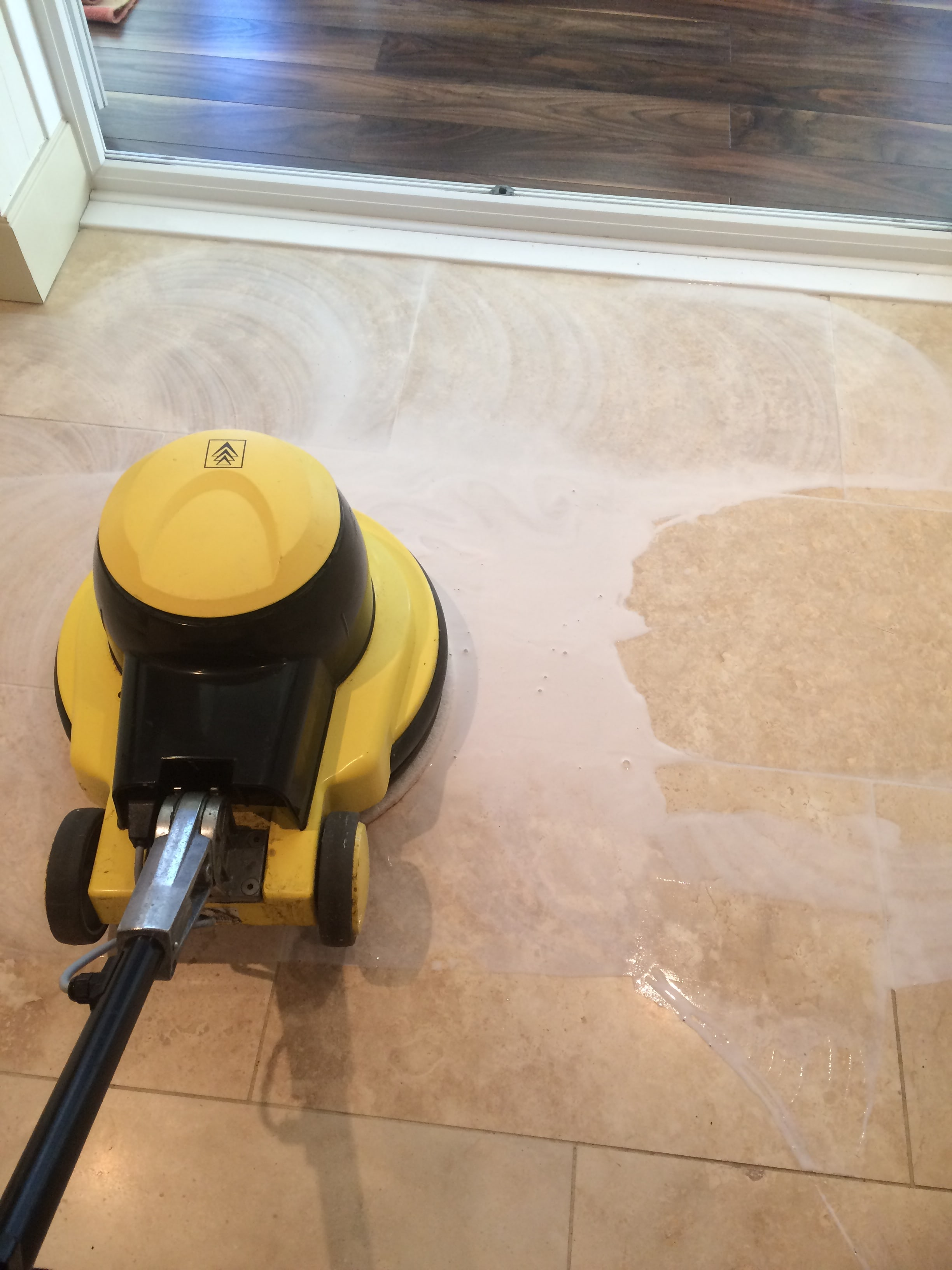 Travertine Tiled Floor During Polishing Blackburn