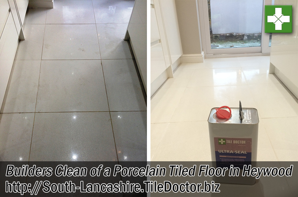 Porcelain Tiled Floor Before and After Cleaning Heywood