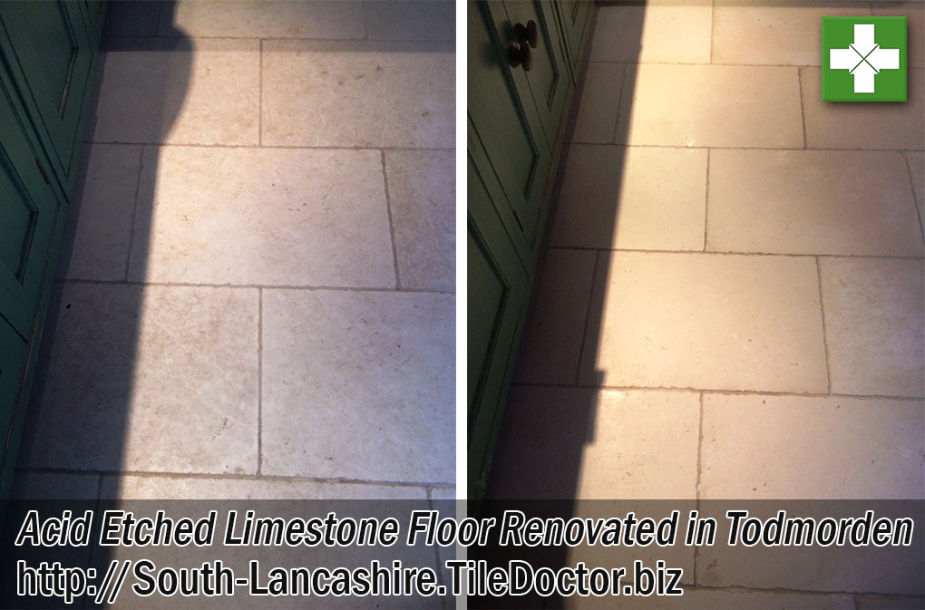 Acid-Etched Limestone Floor Before and After Renovation Todmorden