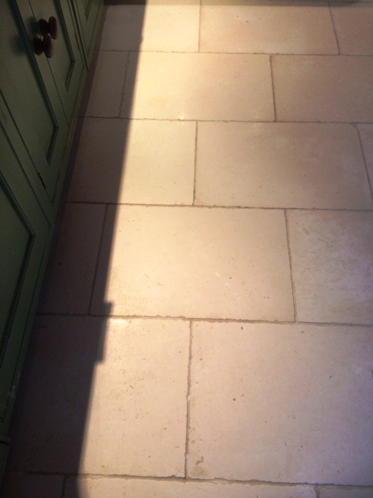 Limestone Floor Before Cleaning Todmorden Farmhouse After