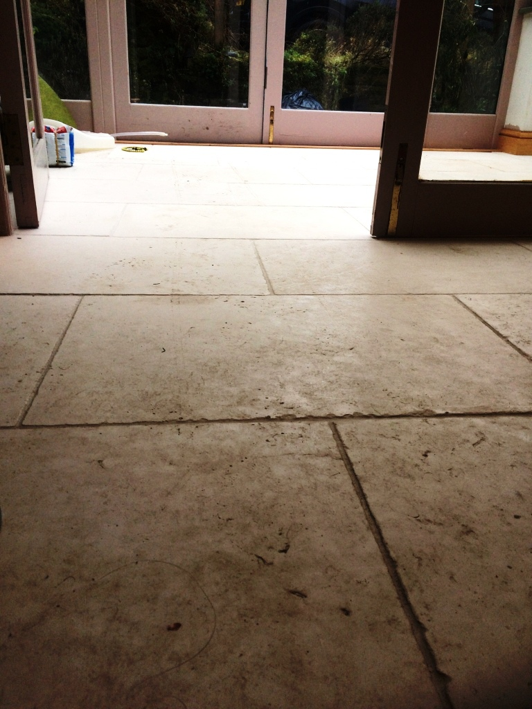 Limestone Floor Before Cleaning Todmorden Farmhouse