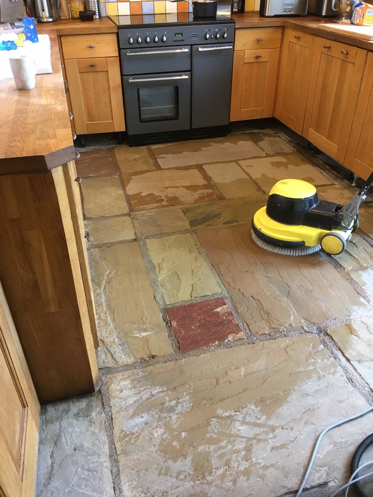 Deep Cleaning a Sandstone Flagstone Floor in Burscough   South ...
