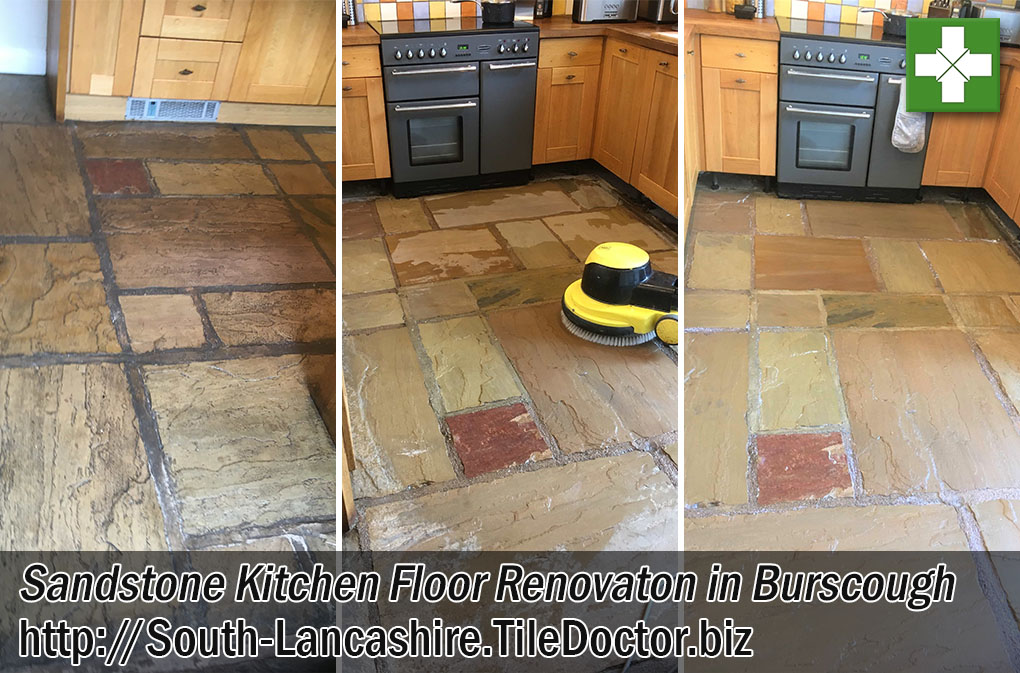 Sandstone Tiled Kitchen Floor Before and After Cleaning Burscough