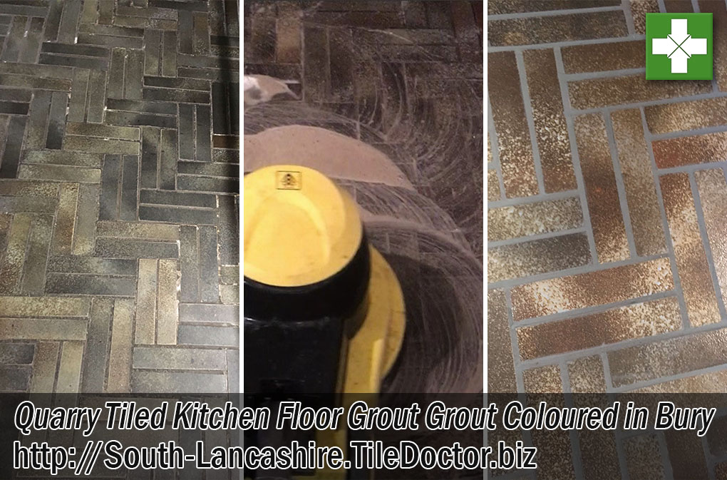 Quarry Tile Floor Grout Before After Restoration Bury