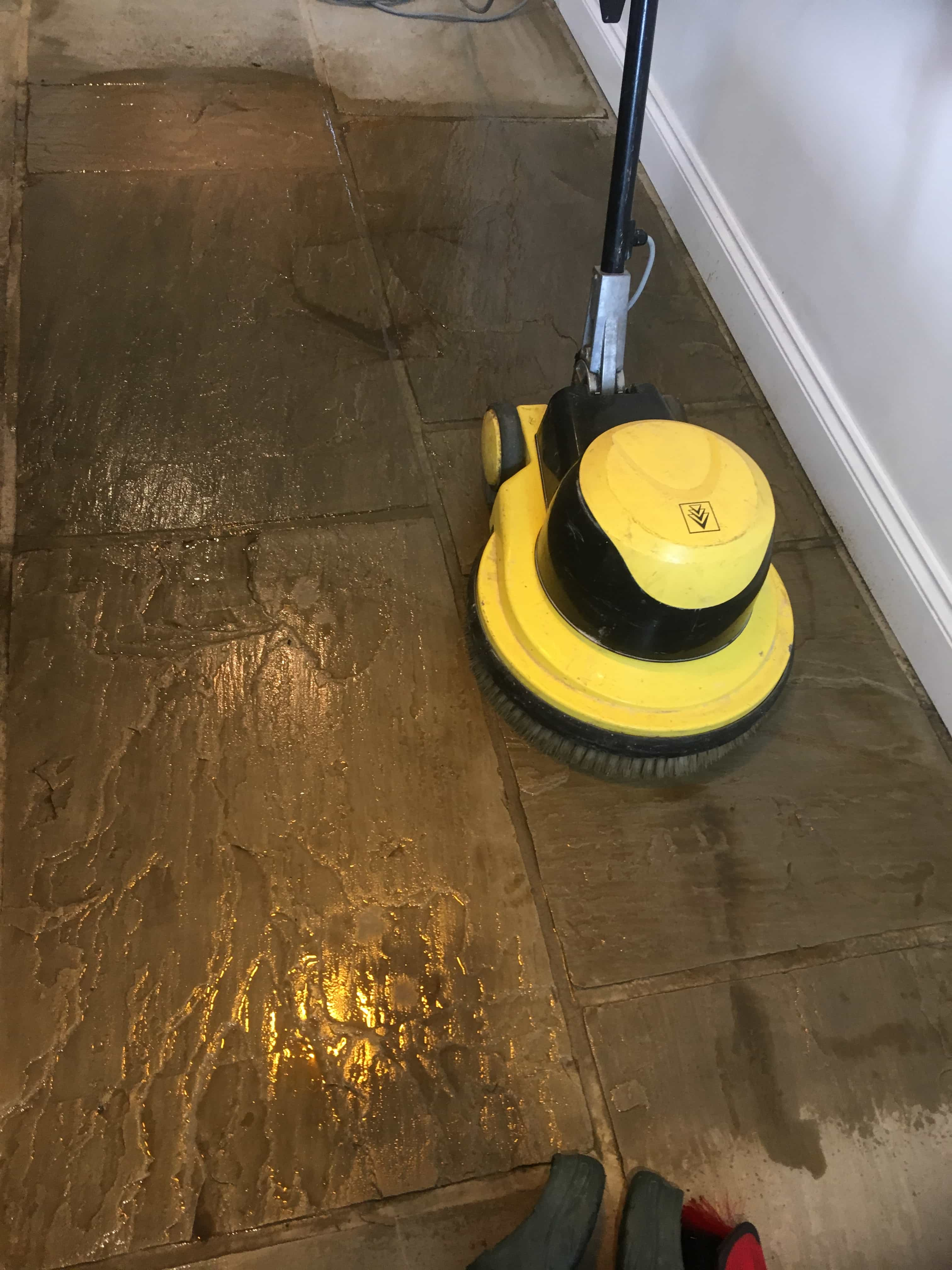 Farmhouse Sandstone Floor During Cleaning Colne