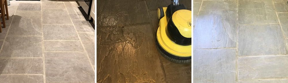 Cleaning and sealing a Sandstone Kitchen Floor in Colne