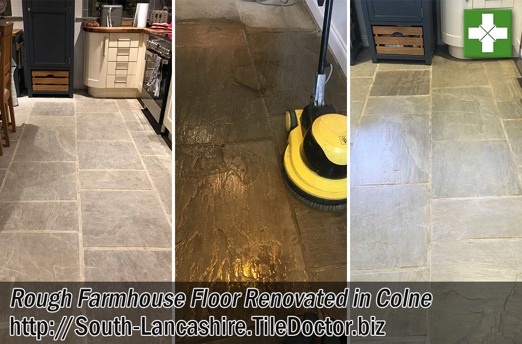 Sandstone Paved Floor Before and After Renovation Colne