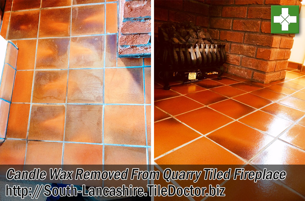 Quarry Tiled Fireplace Before After Candle Wax Cleaning Rochdale