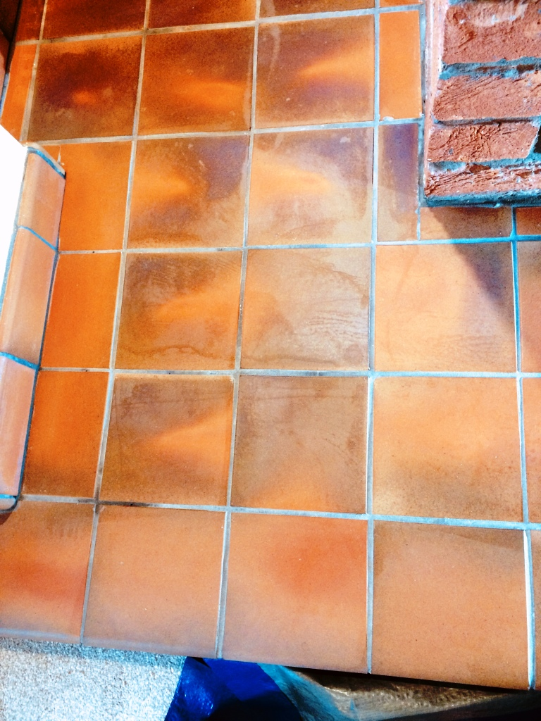 Wax Damaged Quarry Tiled Fireplace Surround During Cleaning Rochdale