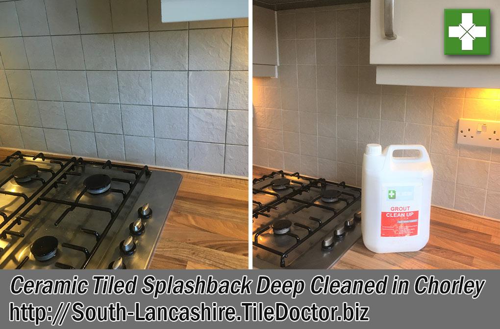 Ceramic Tiled Splashback Before After Deep Cleaning Chorley