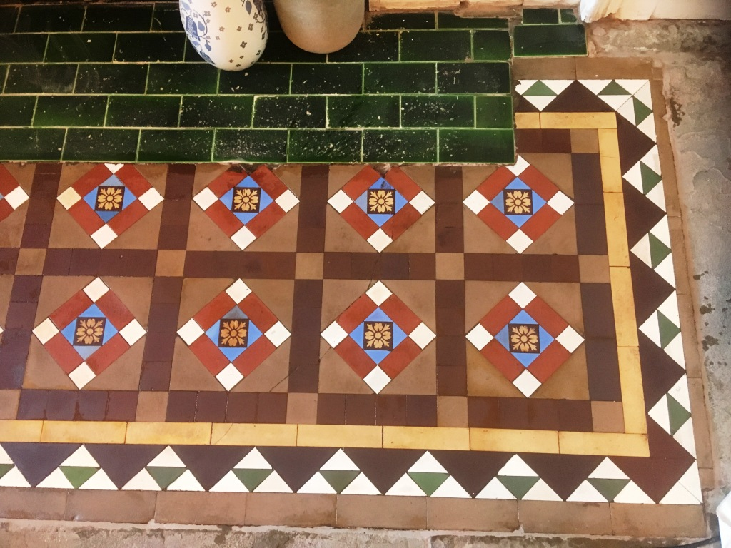 Stained Victorian Tiles After Cleaning Ramsbottom