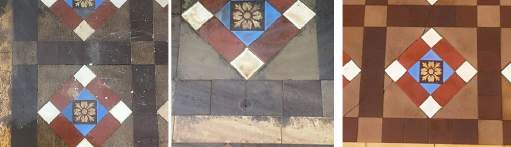 Restoring Badly Stained Victorian Floor Tiles in Ramsbottom