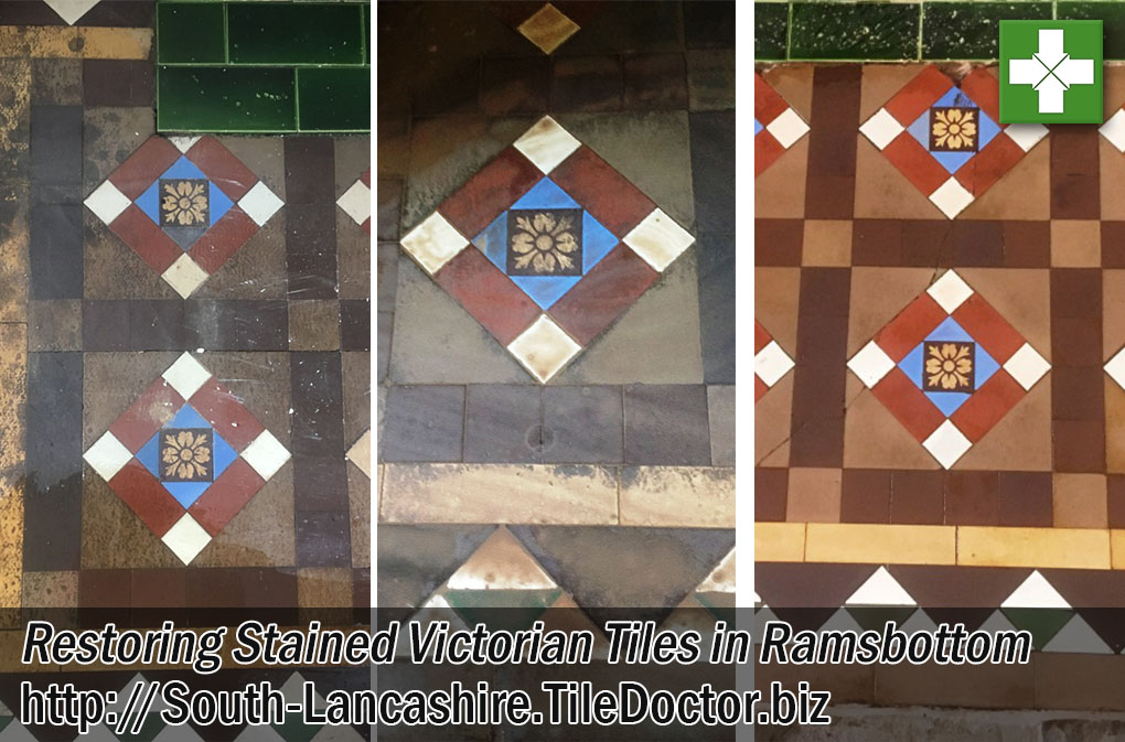 Stained Victorian Tiles Before After Renovation Ramsbottom
