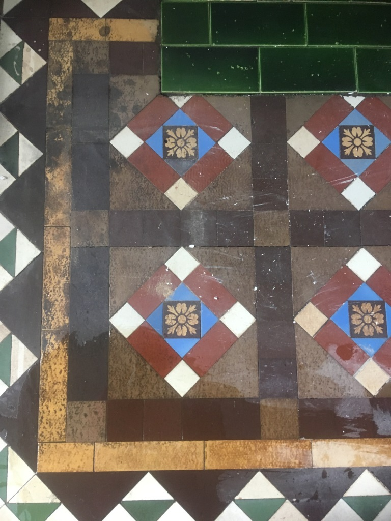 Stained Victorian Tiles Before Cleaning Ramsbottom