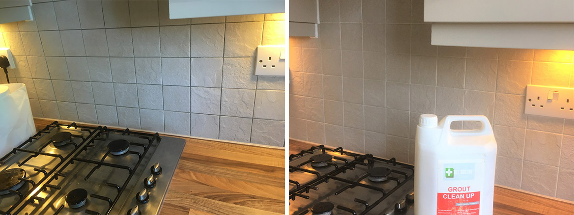 Ceramic Wall Tile Grout Before and After Cleaning Chorley