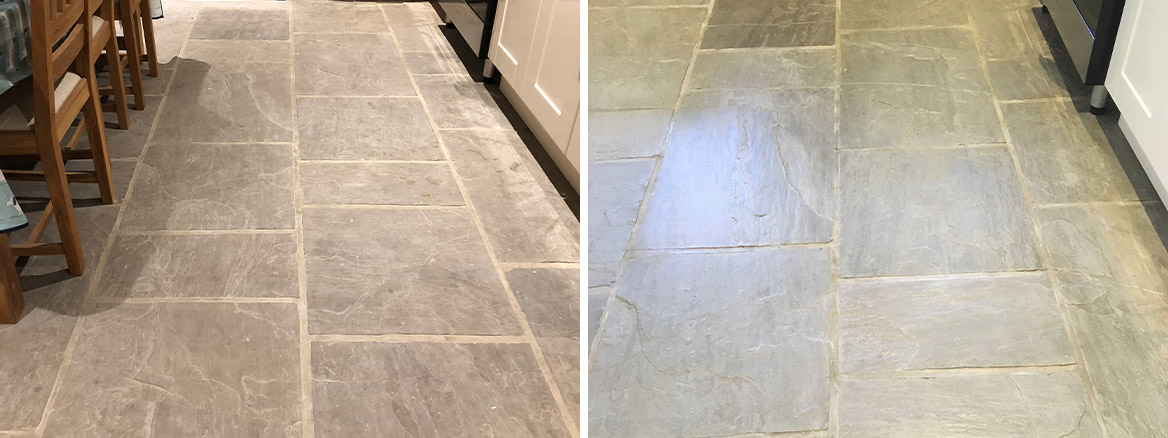 Farmhouse Sandstone Floor Before and After Renovation Colne