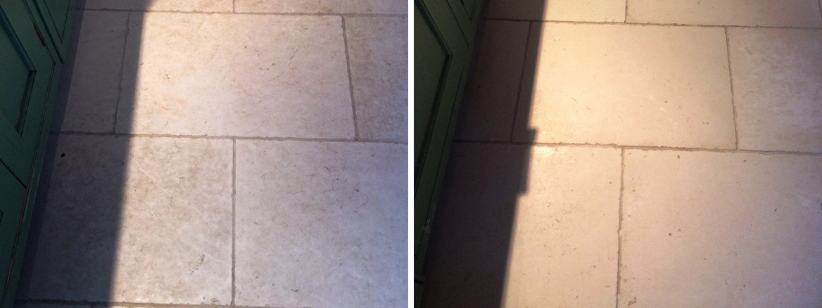 Etched and Damaged Limestone Kitchen Tiles Restored in Todmorden