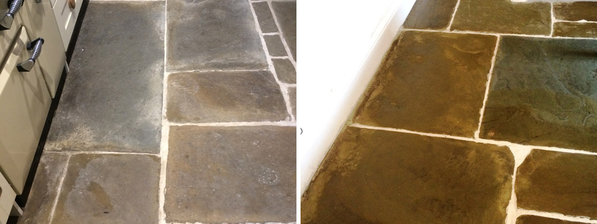 Old Flagstone Tiled Kitchen Floor Renovated at a Stacksteads Cottage near Backup