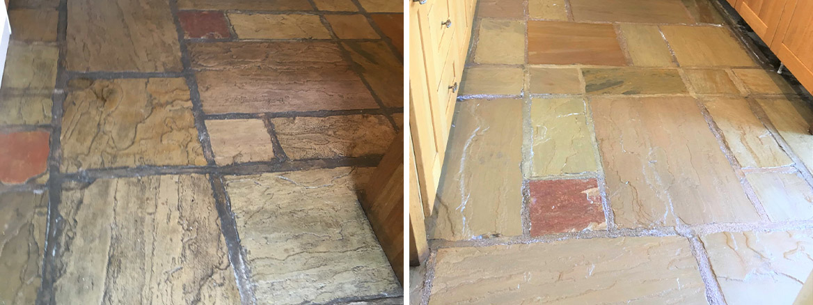 Sandstone Floor Before and After Renovation Burscough