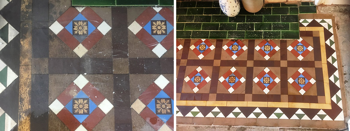 Stained Victorian Tiles Before and After Cleaning Ramsbottom